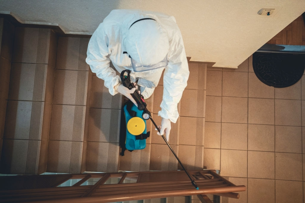 One woman in protective suit disinfecting residential building space
